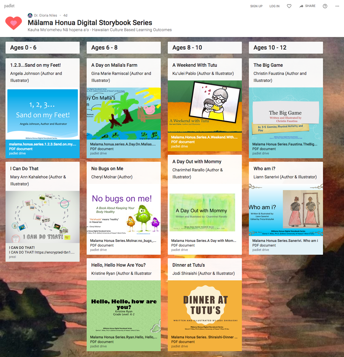 Mālama Honua Digital Storybook Series Dashboard