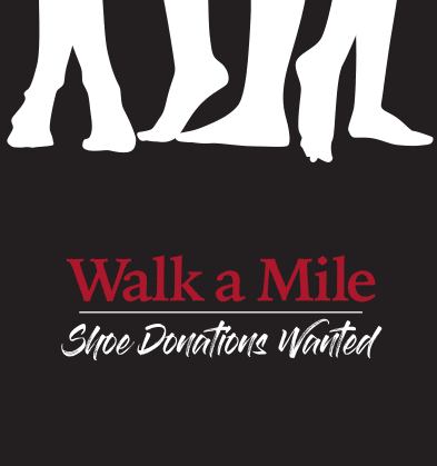 Walk a Mile graphic donate shoes