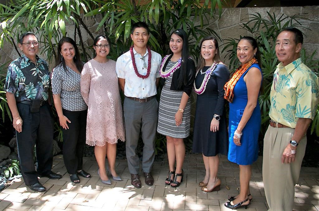 (From left) Professor Derrek Choy, Vice Chancellor for Student Affairs Judy Oliveira, AGA Hawaii's Jennie Christman, Sean Nakamura, Shena Bocalbos, Raelynn Gaspar-Asaoka, Chancellor Maenette Benham, and professor Franklin Kudo.