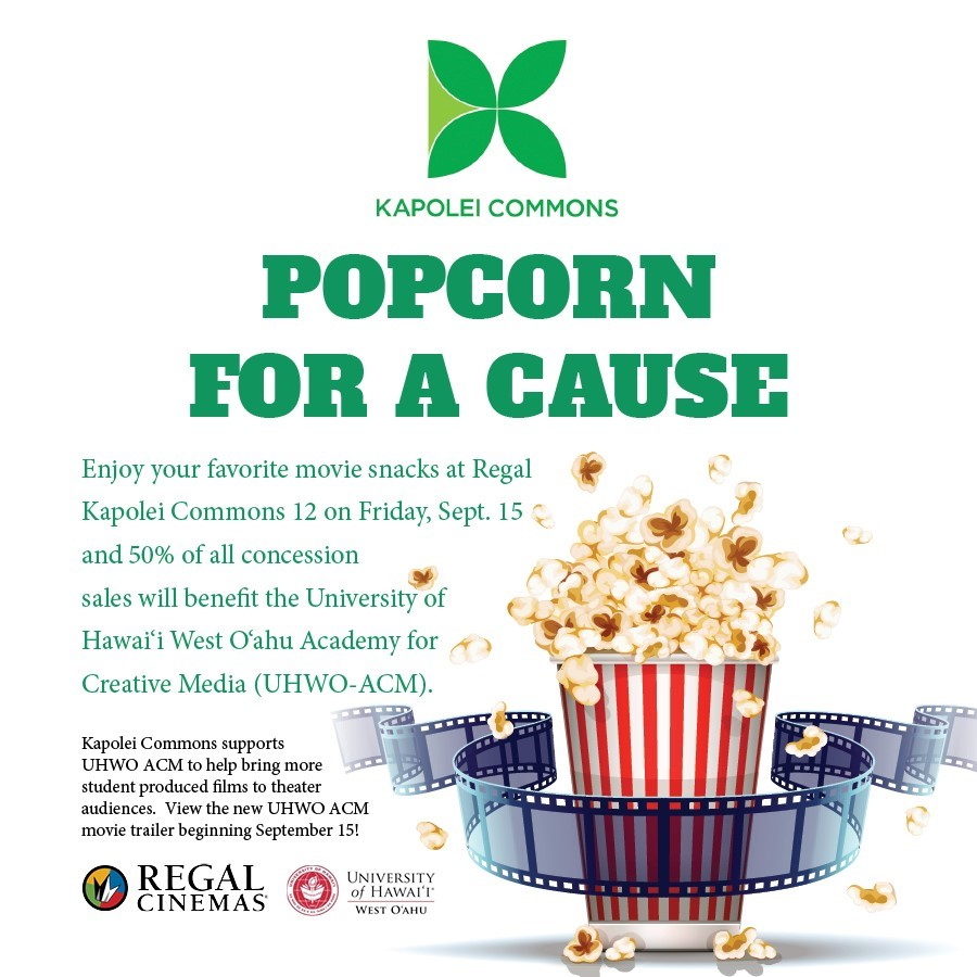 0 percent of Friday's concession sales from Regal Kapolei Commons 12 go to UHWO ACM