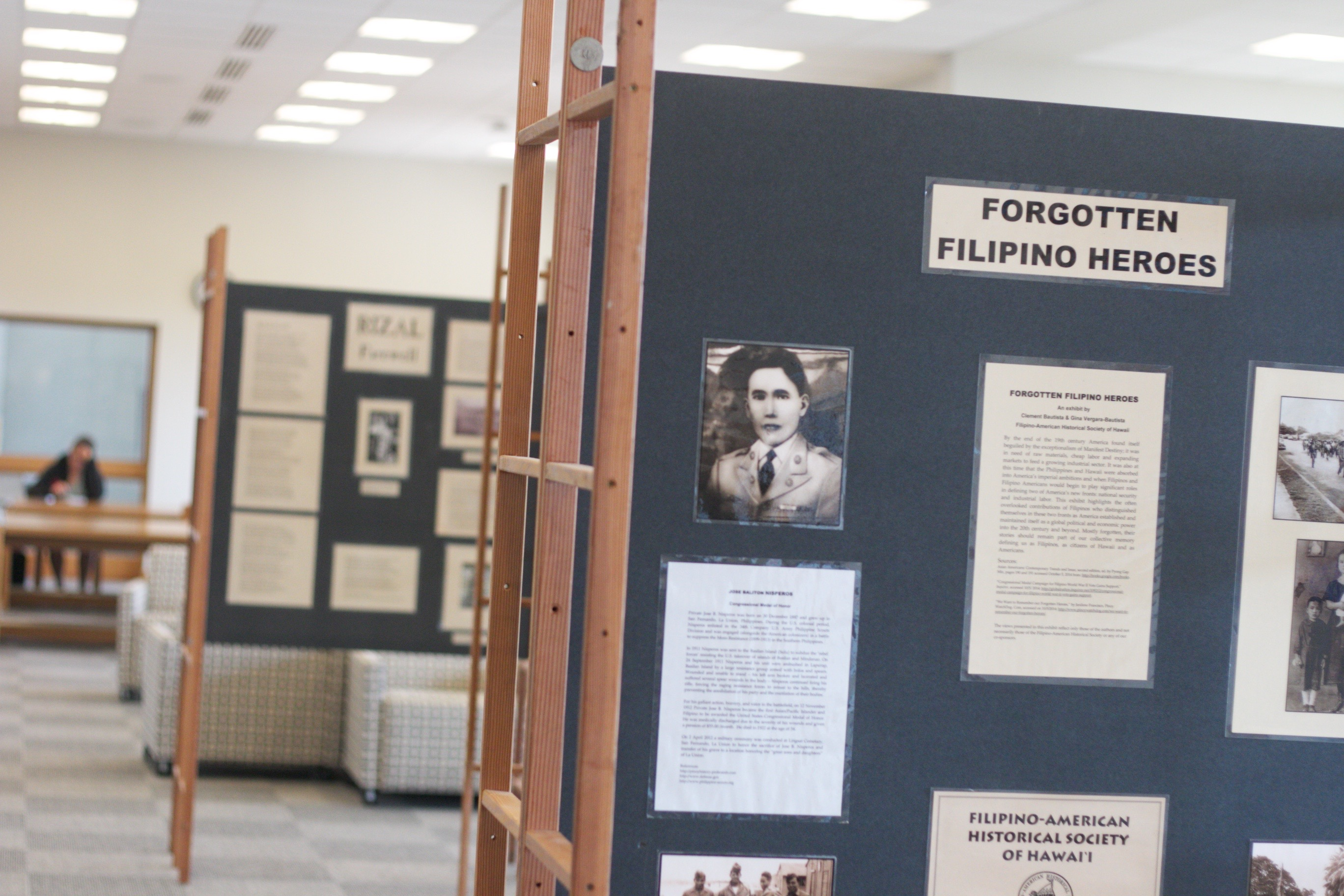 Photo of Forgotten Filipino Heros exhibit with caption: The exhibit runs through Oct. 30