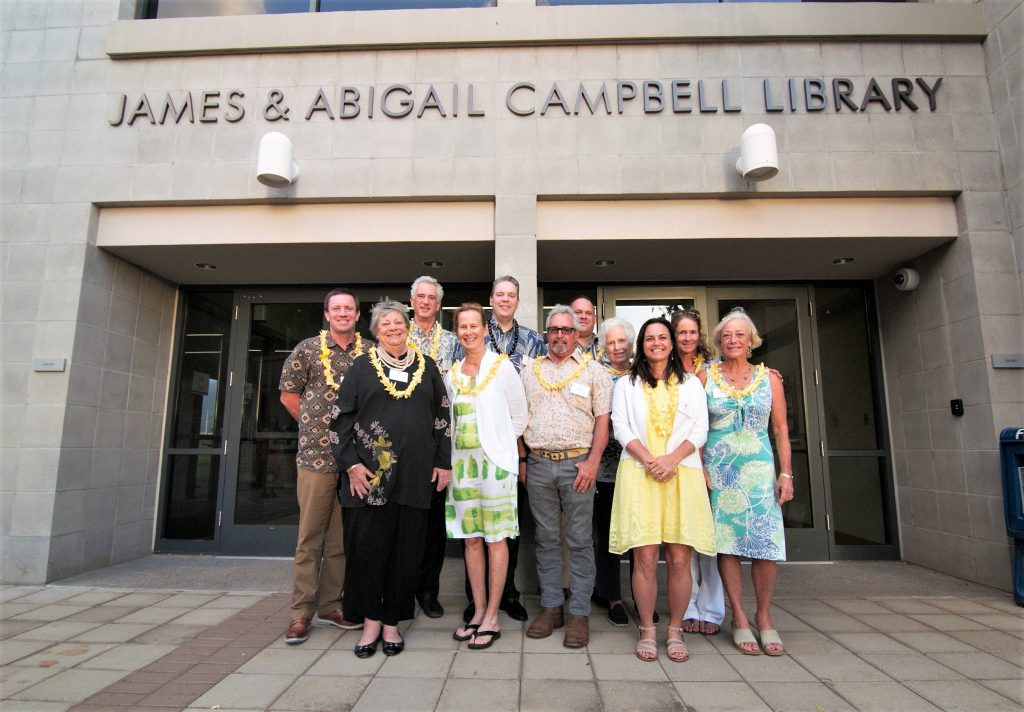 Photo of Members of the Campbell family, the James Campbell Co., and the James and Abigail Campbell Family Foundation attended the library naming event.