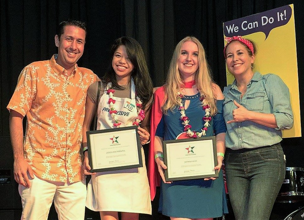 Photo of scholarship winners and AAF-Hawaii members: From left: David Ciano AAF-Hawaii board member, Jess Manapul, Katrina Hicks (2nd place scholarship winner), and Jennifer Tanabe, AAF-Hawaii vice president