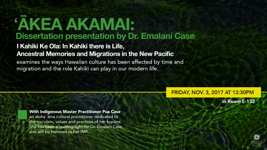 Electronic poster for Akea Akamai lecture noting information contained in the article