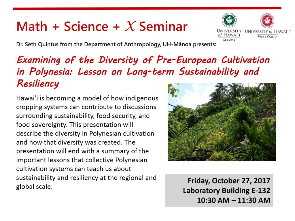 Flyer for Math + Science + X seminar that gives same details as are contained in the article