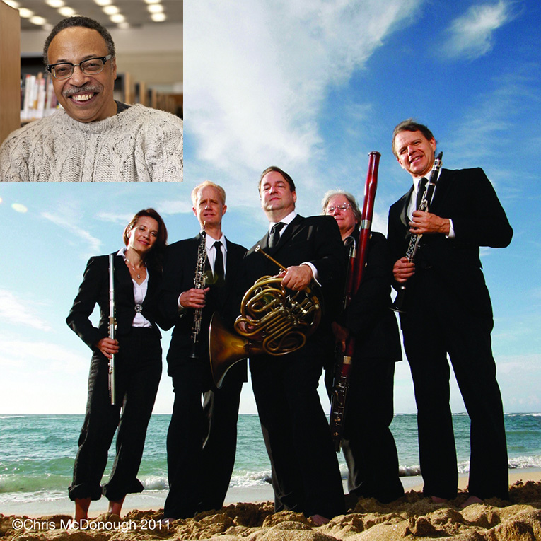Combined photo of George Elliott Clarke (inset, upper left) will give a Distinguished Visiting Scholar talk at 3:30 p.m. at the Library. At 7 p.m., the Spring Wind Quintet takes stage.
