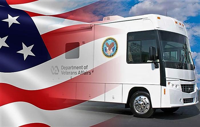 Graphic of vet center van and U.S. flag