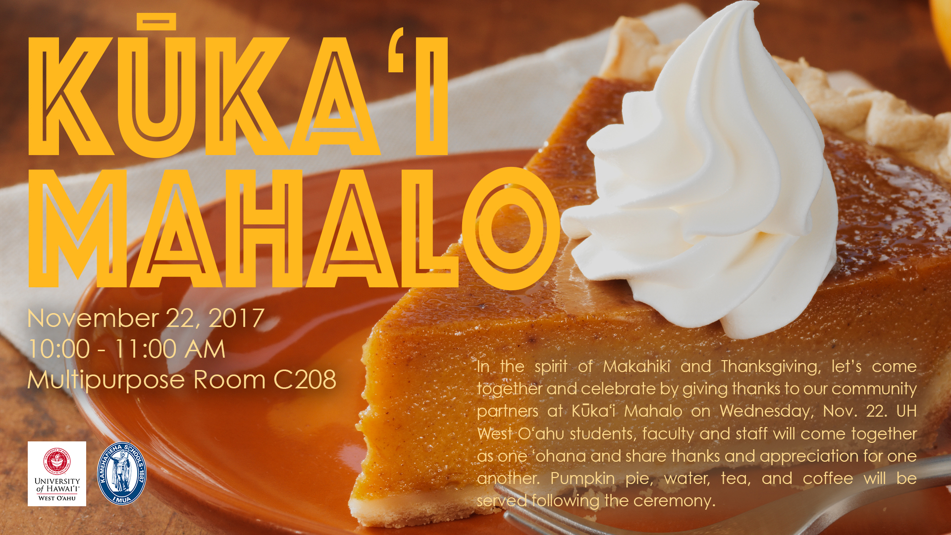 Kukai Mahalo flyer announcing event. Contains information similar to what is in the artilce