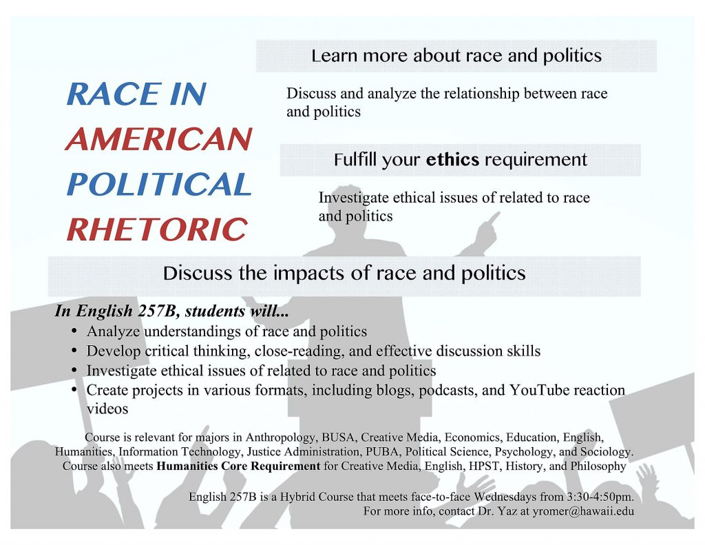 E kamakani hou english 257b to look at race in american political bulletin board flyer for eng 257b altavistaventures Gallery