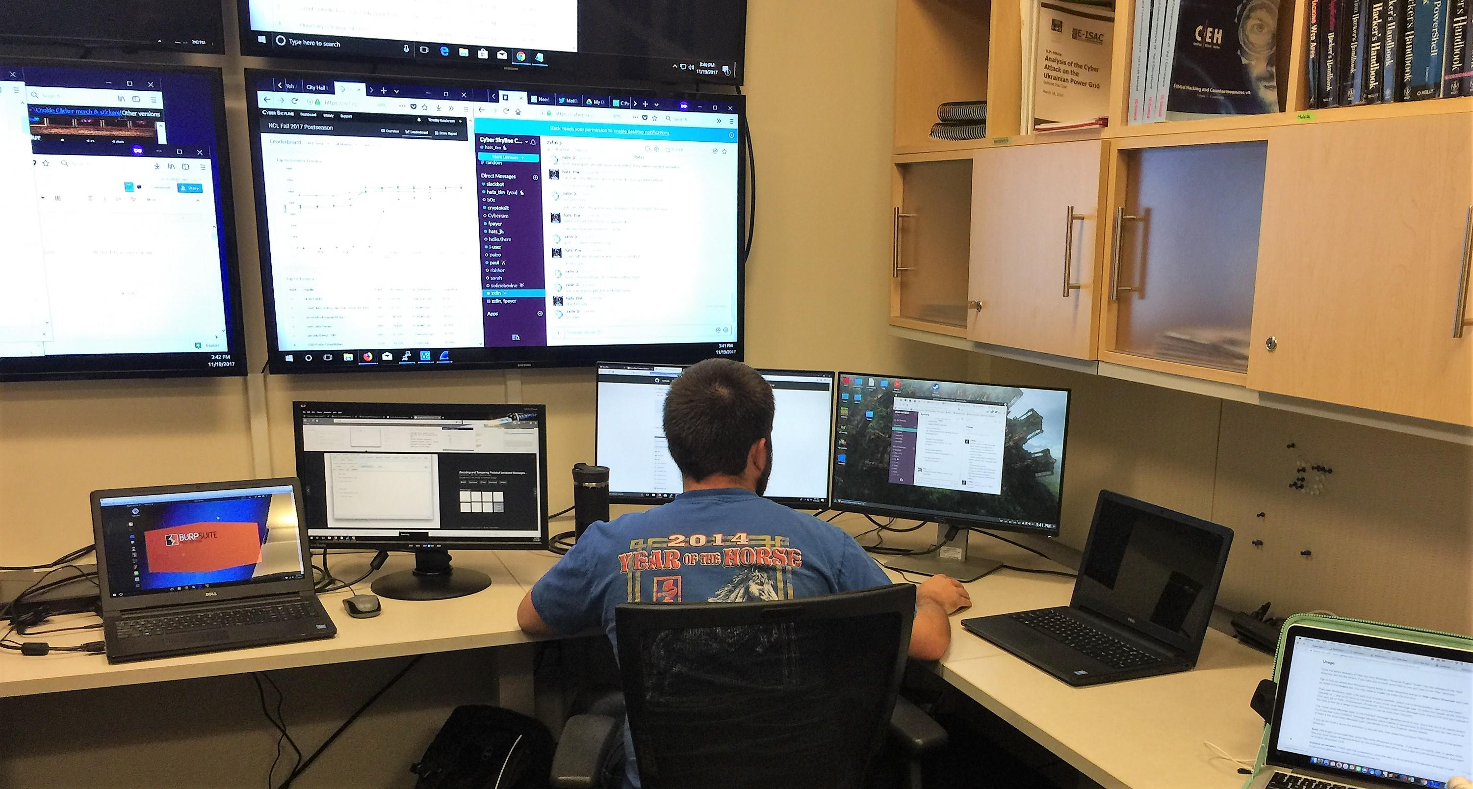 Photo of student at desk with several computer monitors