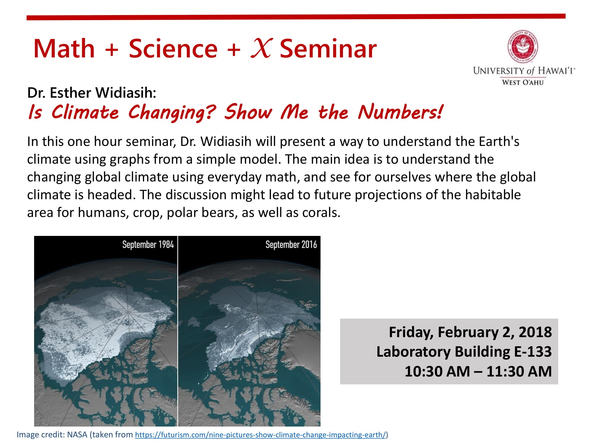 Flyer for Math + Science Talk that gives same information as is in article