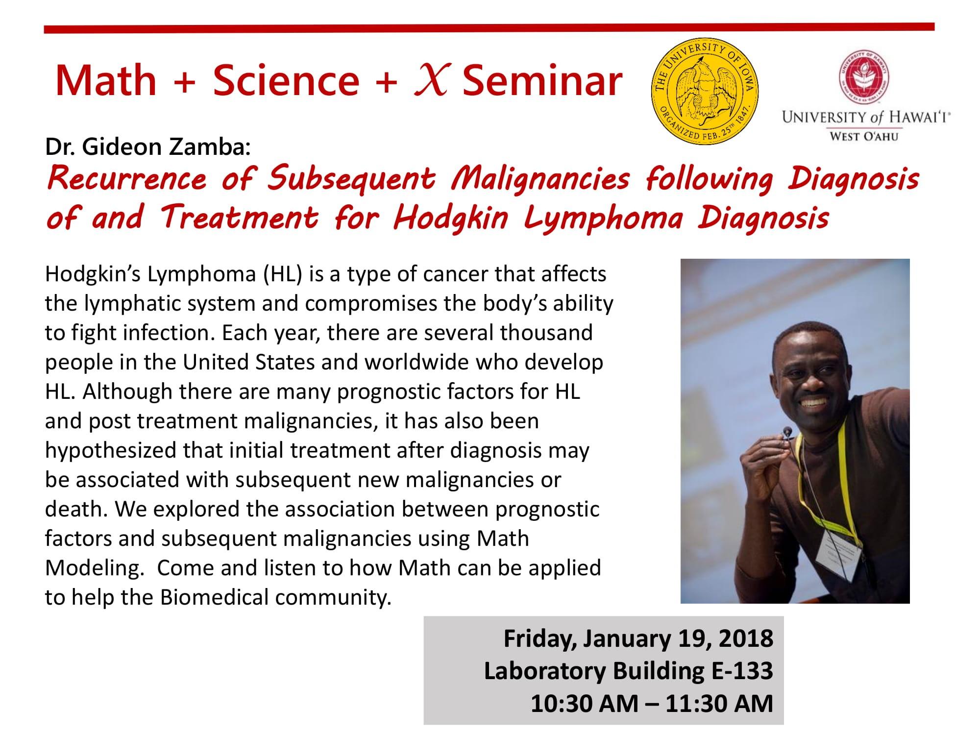 Flyer for Math + Science talk Jan. 19, 2018
