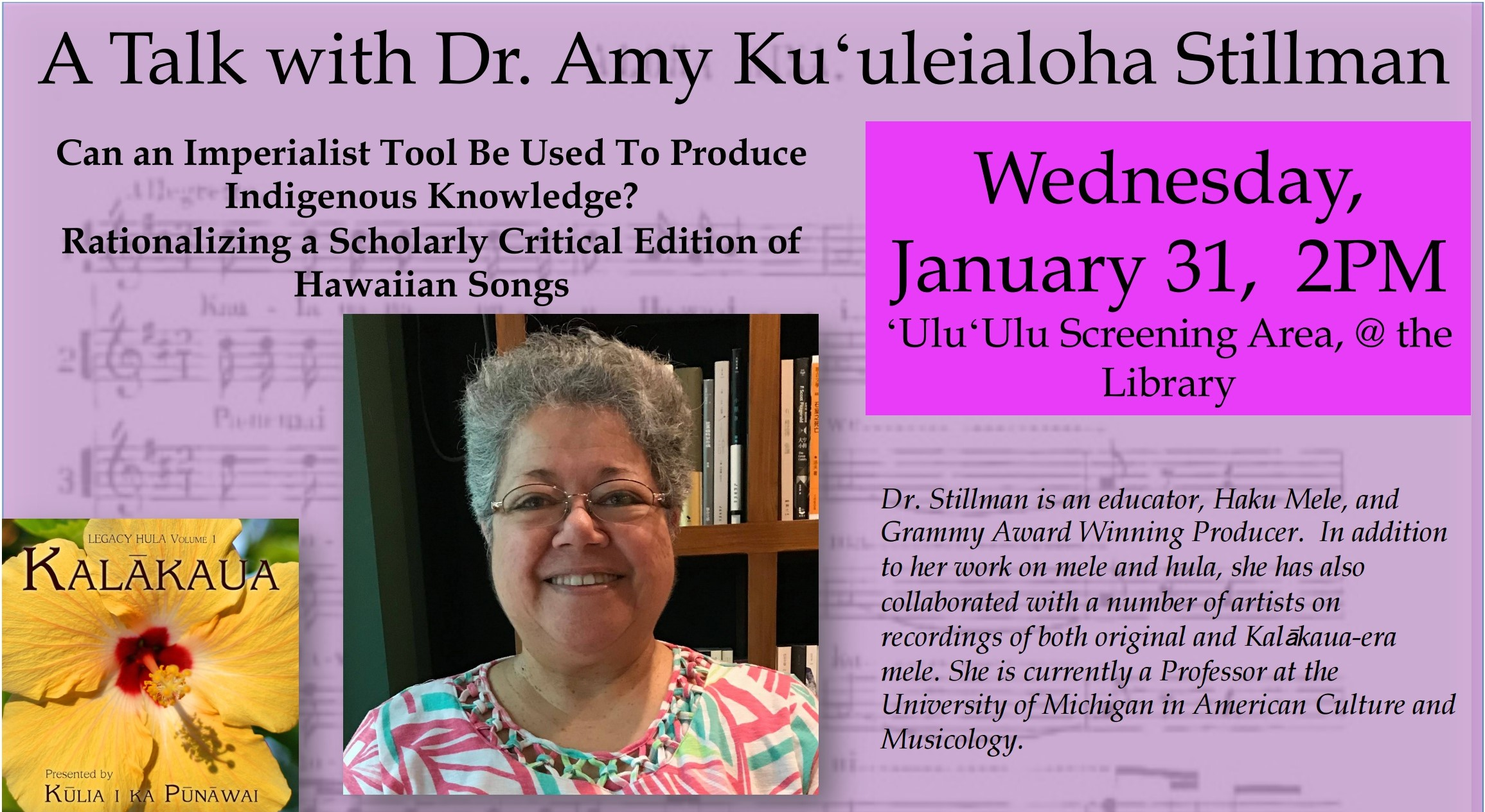 Flyer for Amy Stillman talk that presents information similar to what is in the article