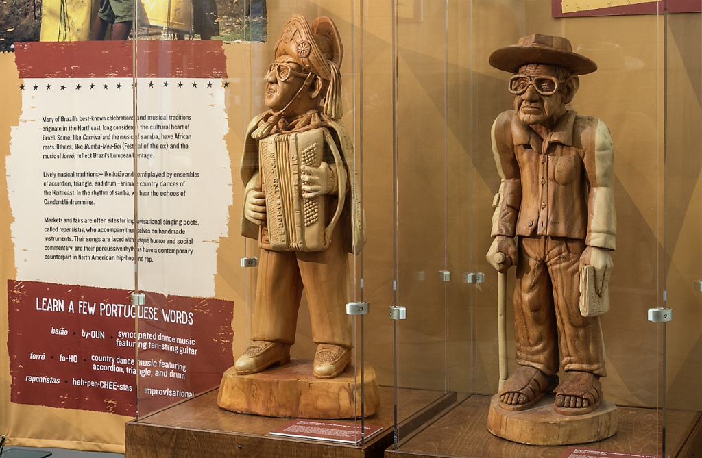 photo of wood carvings that are part of exhibit