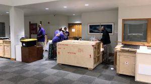 The exhibit arrived in more than a dozen wooden crates Wednesday