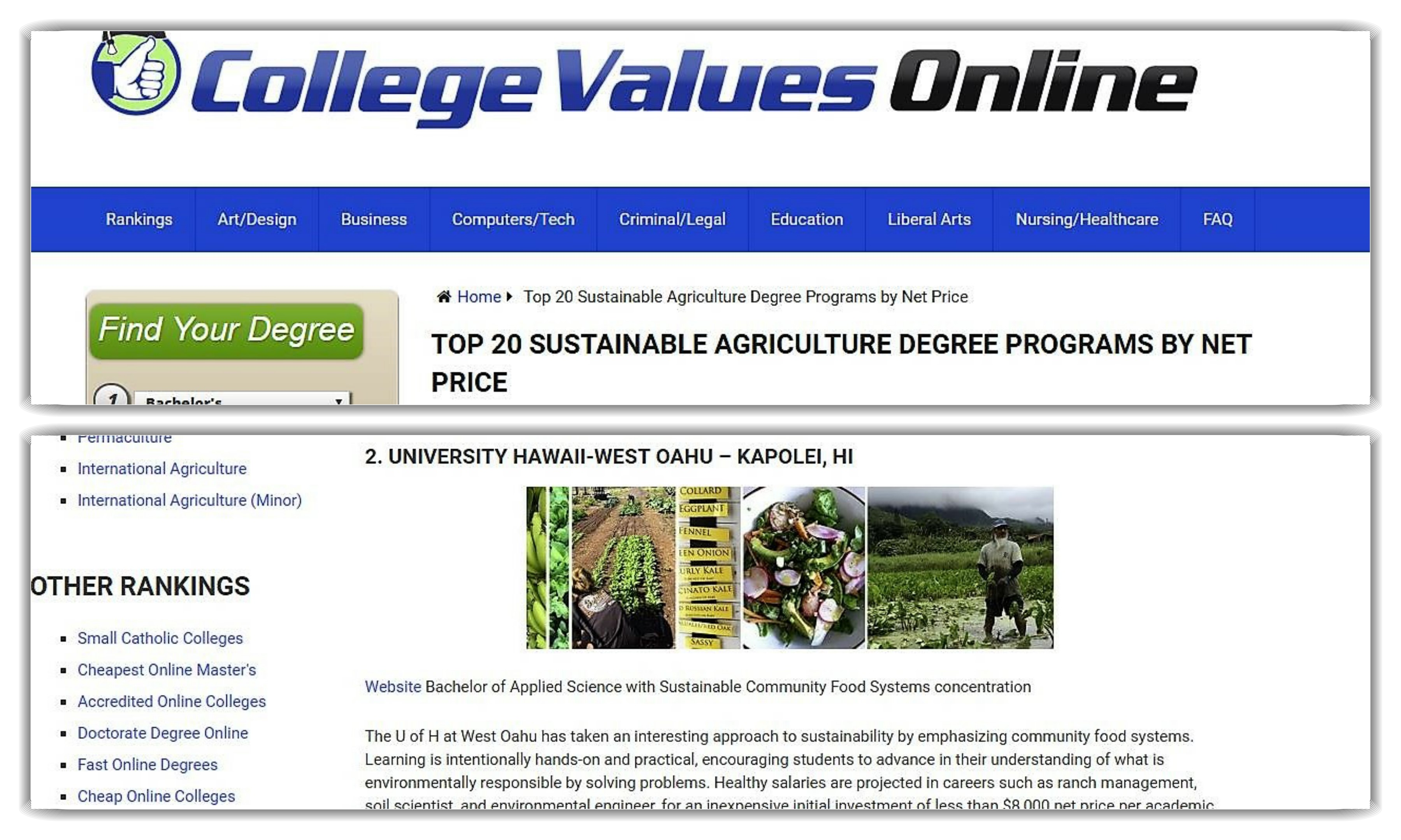 Screen grabs from CollegeValuesOnline.com showing UH West Oahu number 2 ranking