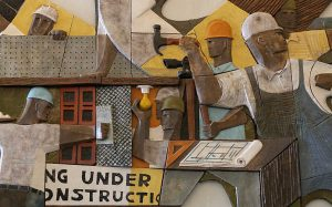 Isami Enomoto mural depicting construction workers