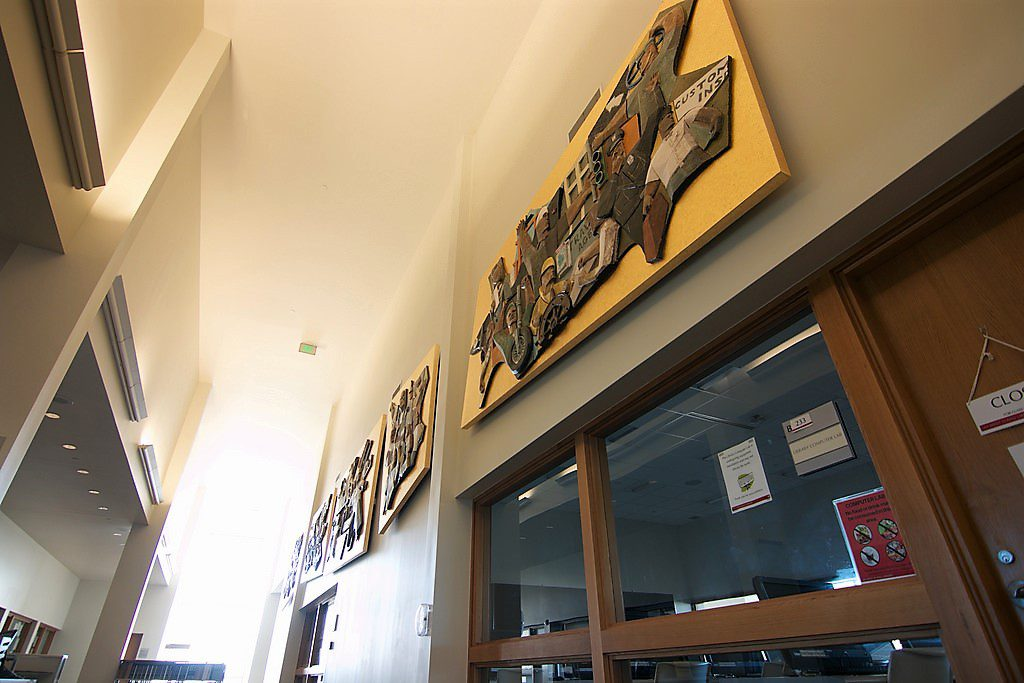 The murals are located on the second floor of the James & Abigail Campbell Library