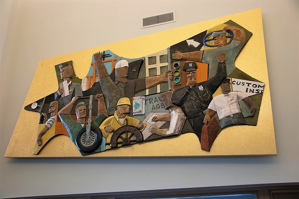 The largest of the murals weighs 650 pounds and focuses on transportation labor