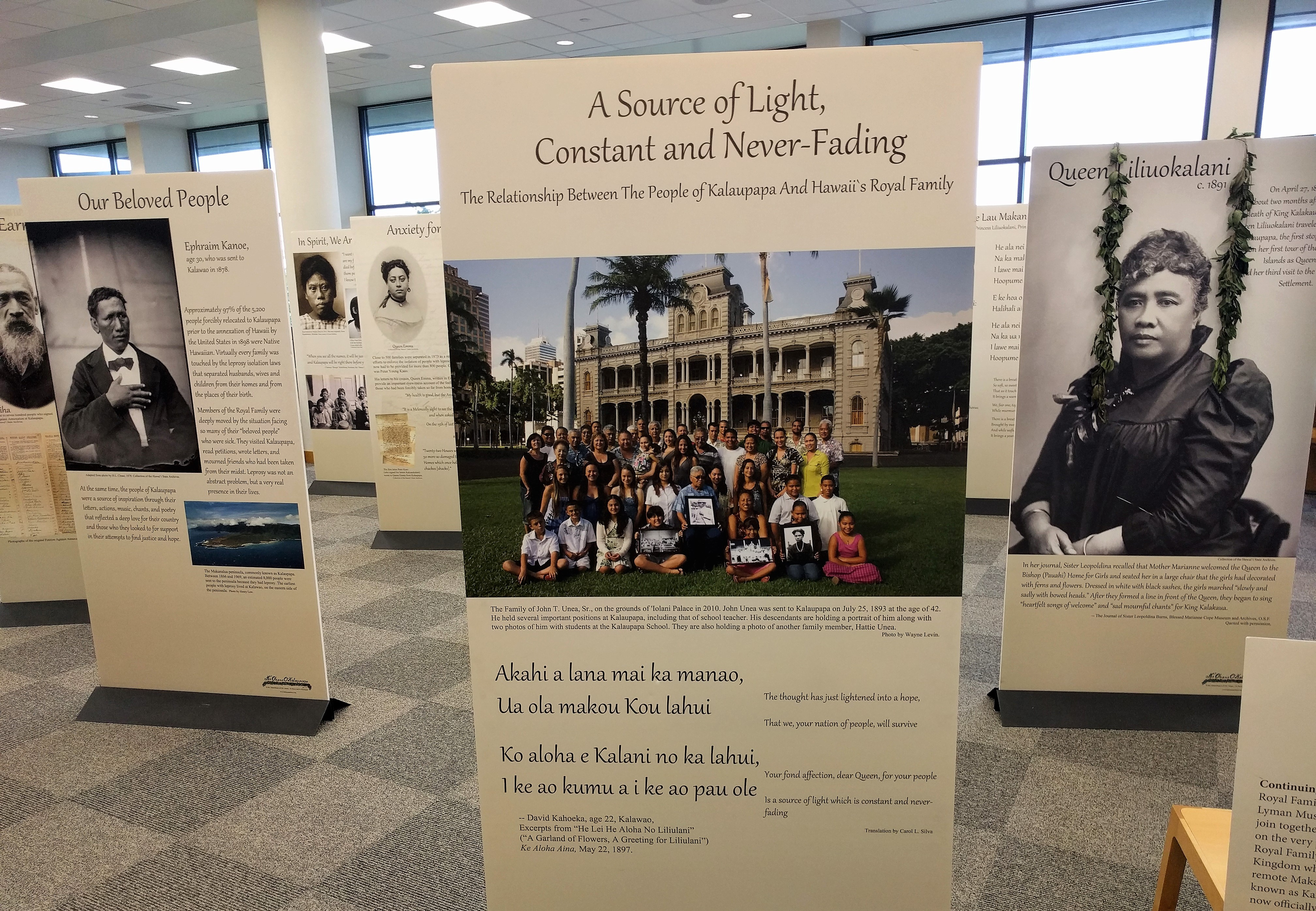 """""""A Source of Light, Constant and Never-Ending"""" is an exhibit by Ka ʻOhana o Kalaupapa and is on display at the UH West Oahu's James & Abigail Campbell Library through March 10."""