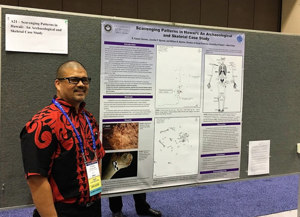 R. Kalani Carreira presented his research poster during the Seattle meeting