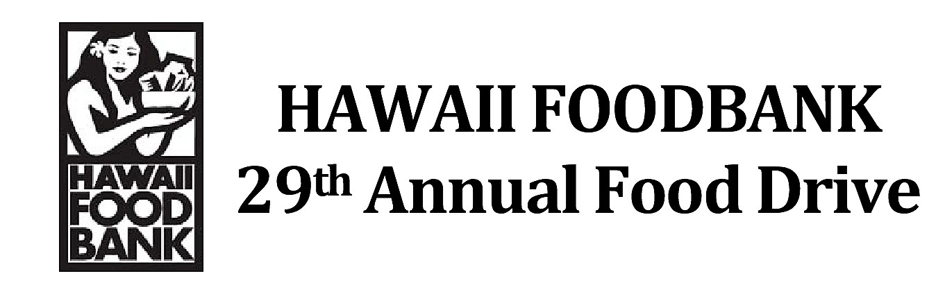Hawaii Foodbank logo and words Hawaii Foodban 29th annual foodbank drive
