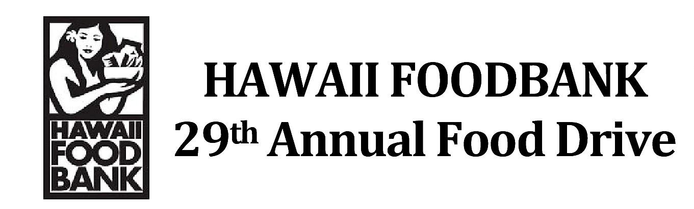 Hawaii Foodbank logo and words Hawaii Foodban 29th annual foodbank drive