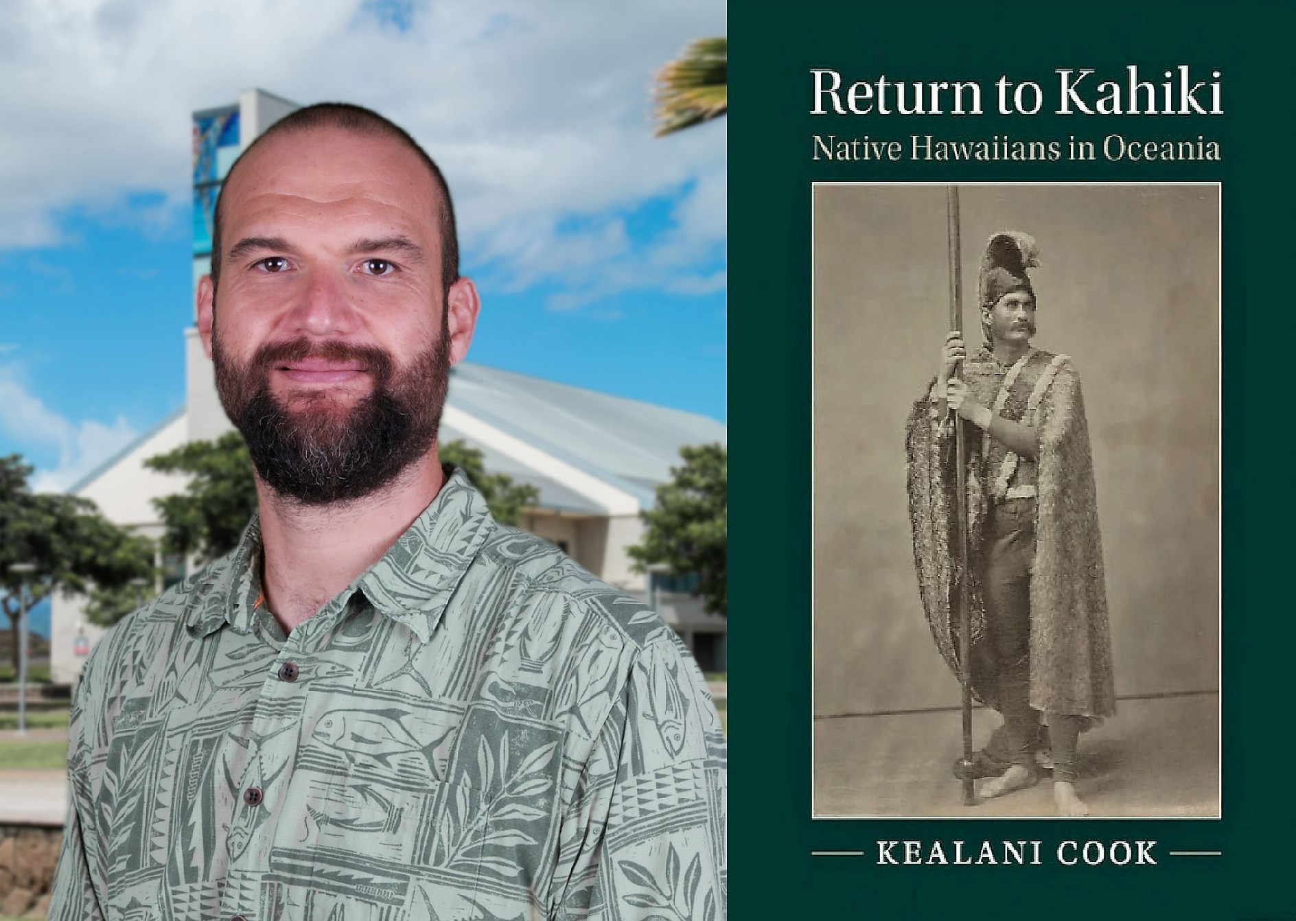 Photo montage of Dr. Kealani Cook and his book