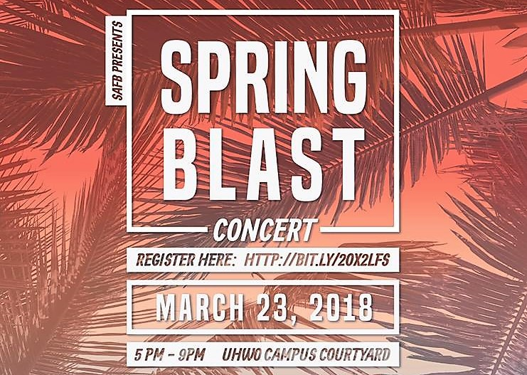 Flyer for Spring Blast Concert with information similar to what is in the article