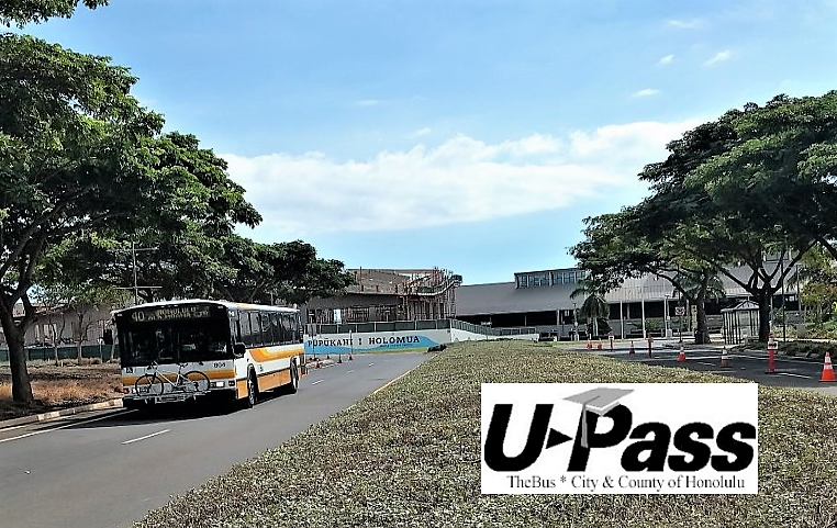 Picture of bus at UH West Oahu and logo for U-Pass
