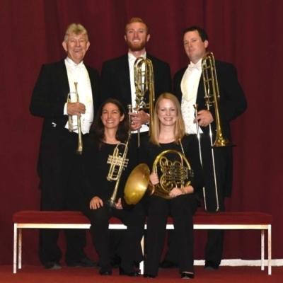 The Honolulu Brass Quintet (left to righ) Ken Hafner (trumpet), Jo Ann Lamolino (trumpet), Rudi Hoehn (bass trombone), Julia Filson (horn), Jason Byerlotzer (trombone)