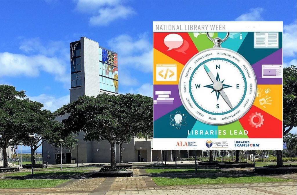 Photo of the library building with the library week logo inset in the picture