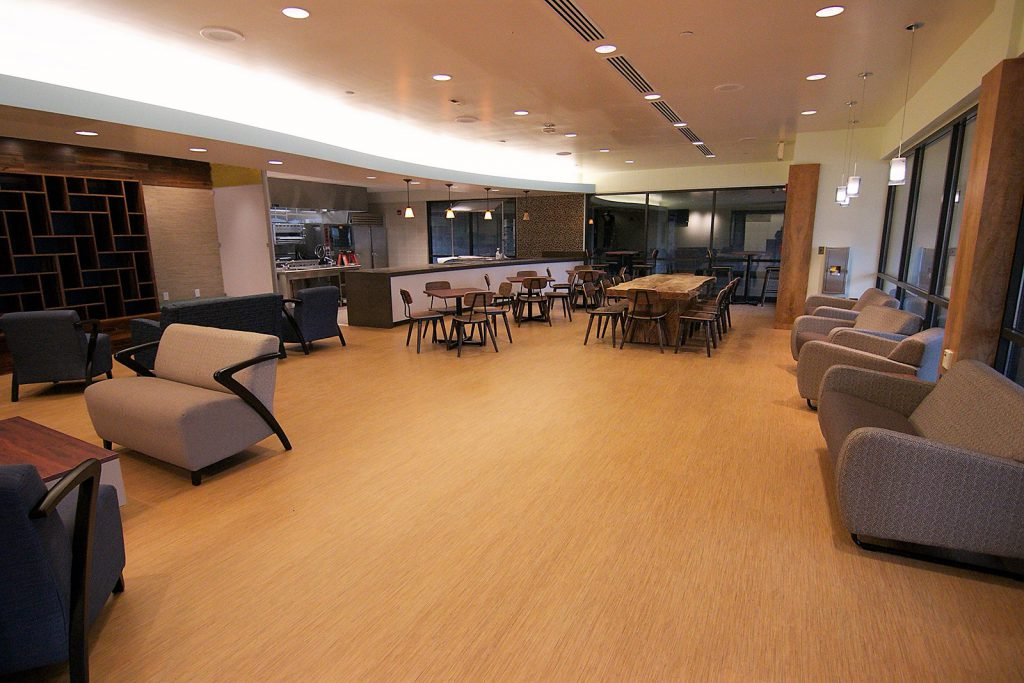 Photo caption: The Nāulu Center's lounge area is adjacent to a culinary art