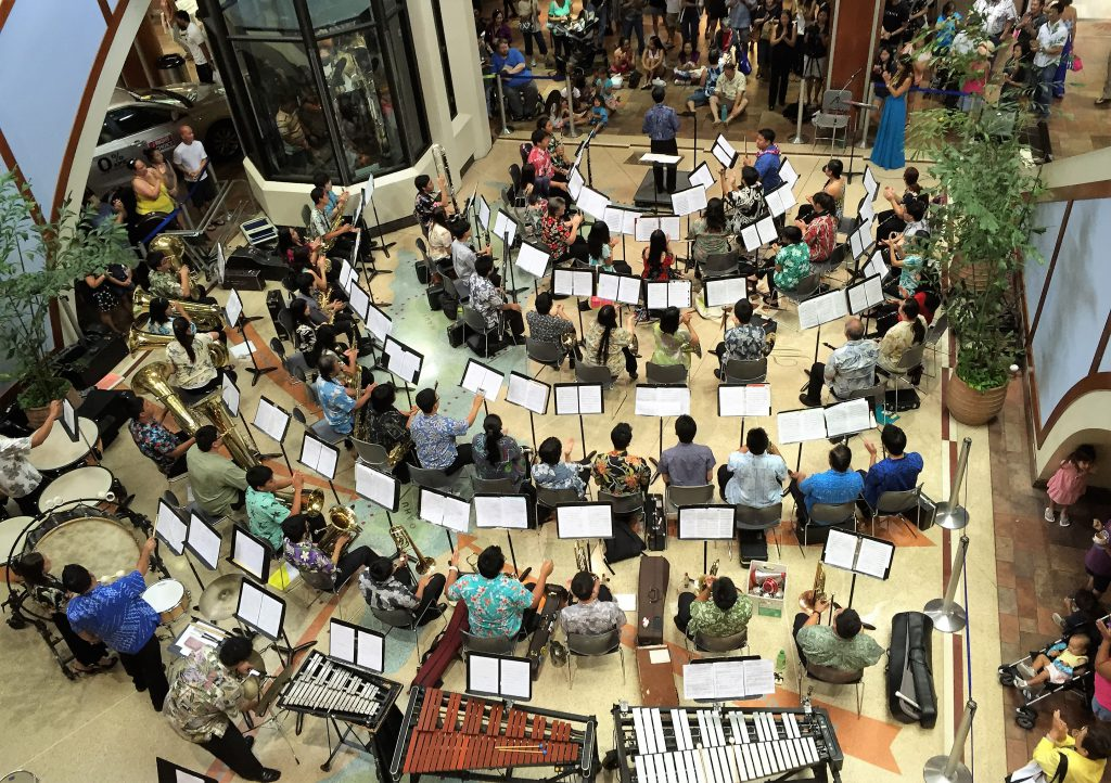 The UH West Oahu University Band at an earlier Pearlridge Center performance