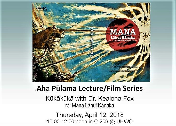 Flyer for talk by Dr. Kealoha Fox