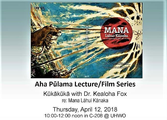Flyer for talk by Dr. Kealoha Fox