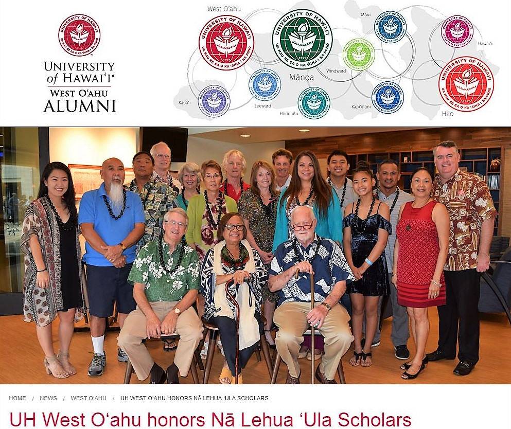 Picture of honorees and members of alumni association and caption UH West O'ahu's first graduates were honored during the Spring 2018 Commencement ceremony