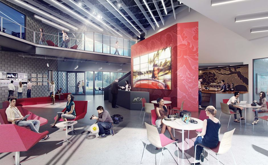 Rendering of the new Academy for Creative Media building.
