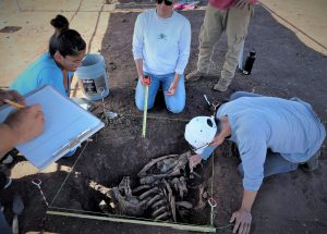 Photo of students digging up bones and caption The 2017 workshop also included training in archaeological recovery