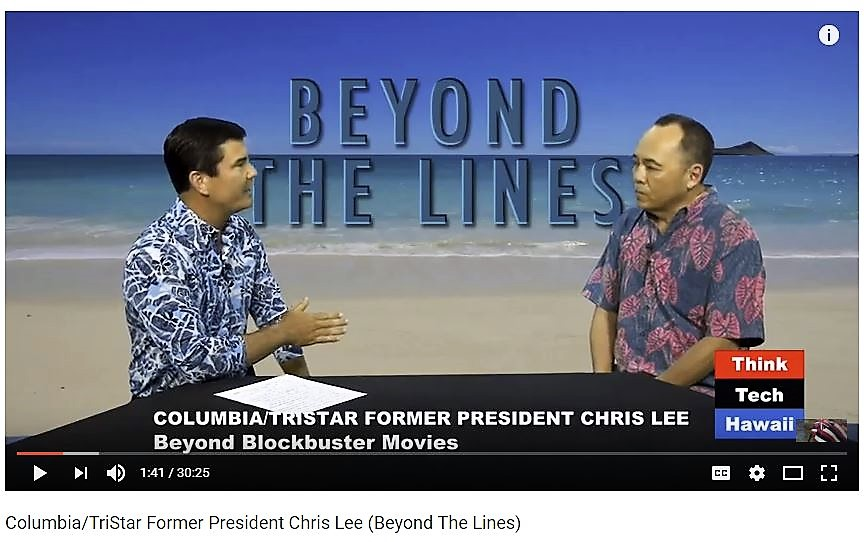 Chris Lee (right) discussed his career, success, and the Academy for Creative Media with Beyond the Lines host Rusty Komori (left).
