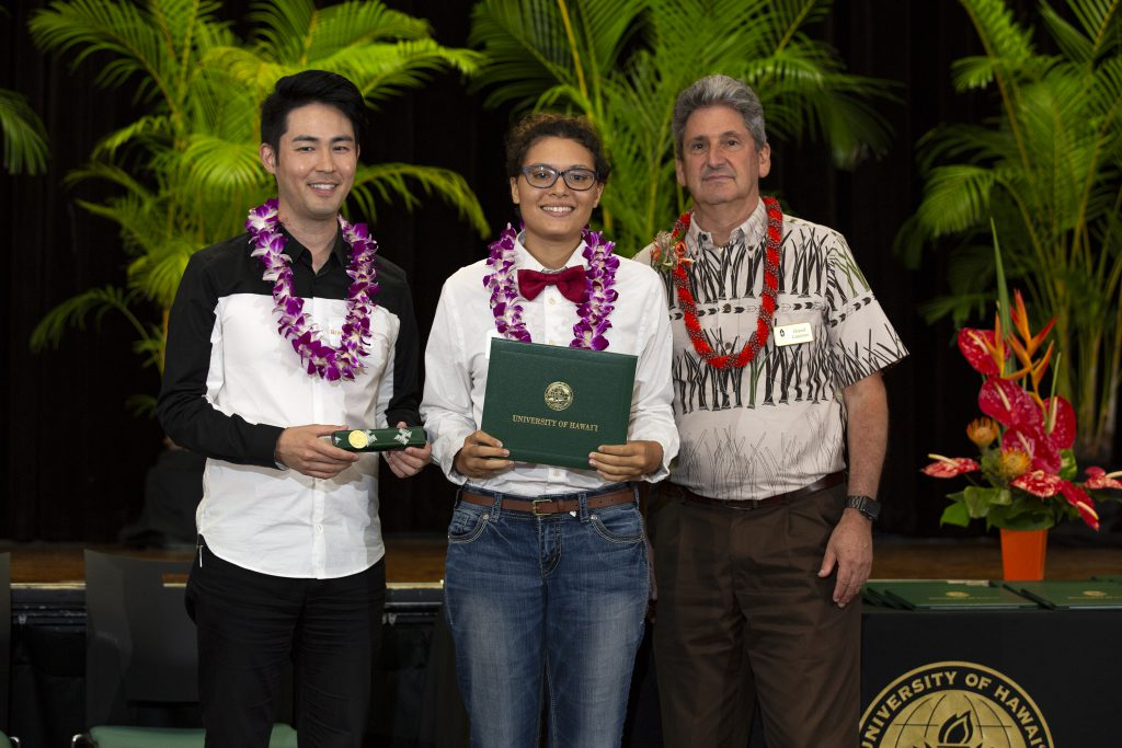 Emma Lake (center) and other Regent Scholars were honored at a July 19 ceremony. Also on hand were Regent Brandon Marc Higa (left) and UH President David Lassner (Right)