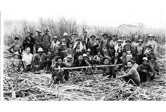 Photo from exhibit - Sugar workers, Wainaku, Hawaii Island