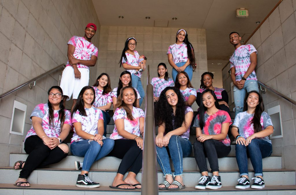 photo of 2018-2019 PUEO Leaders/Mentors sitting on stairs