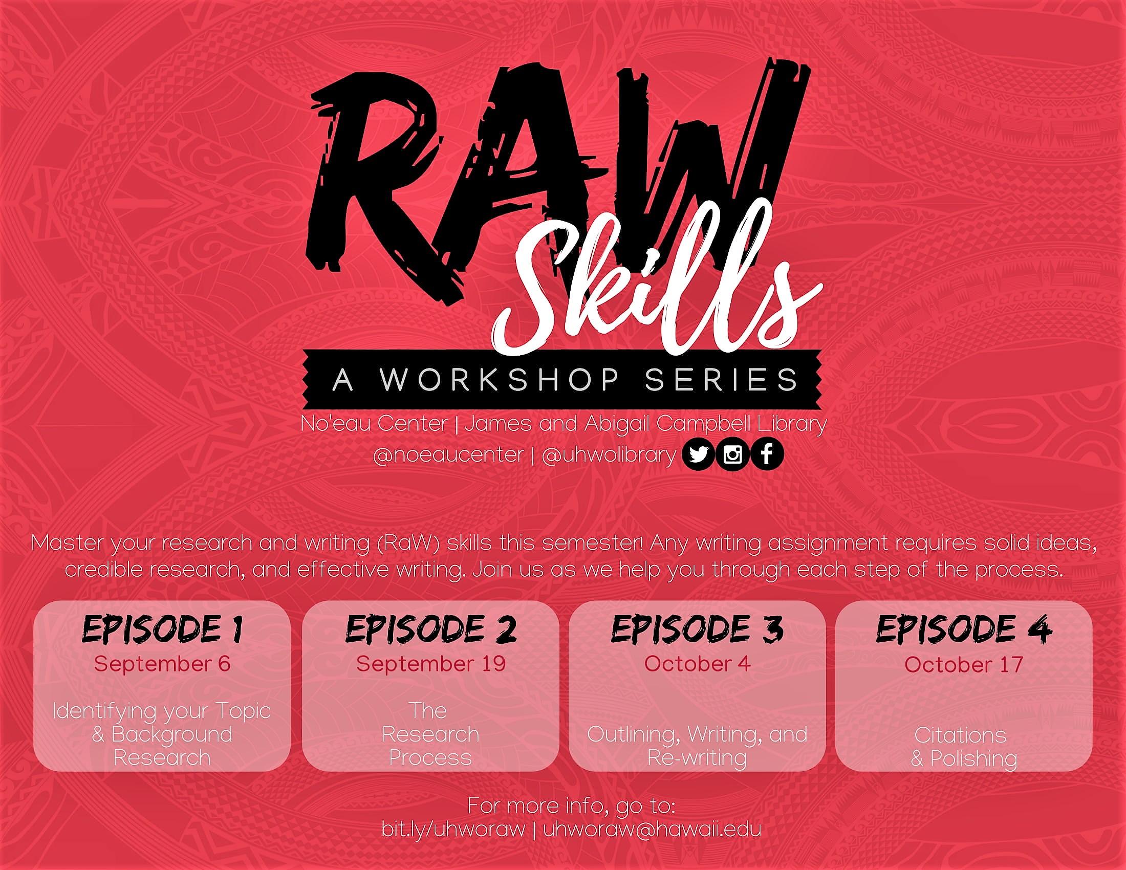 Raw skills workshop flyer