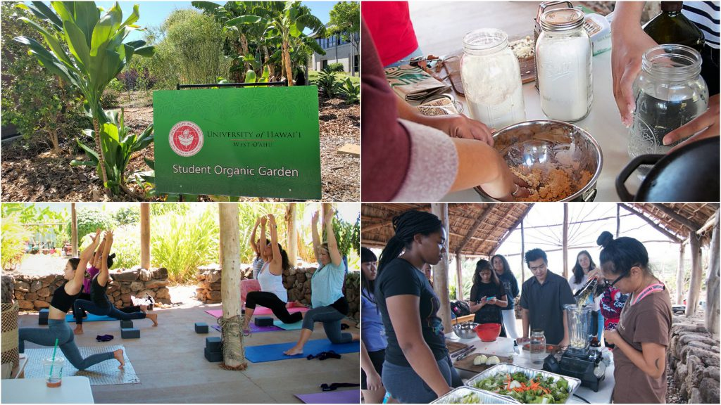 Four photos of the garden Workshops that were previously held at Hale Kūahuokalā are shifting to the Nāulu Center this semester.people preparing food items and people doing yoga with the caption
