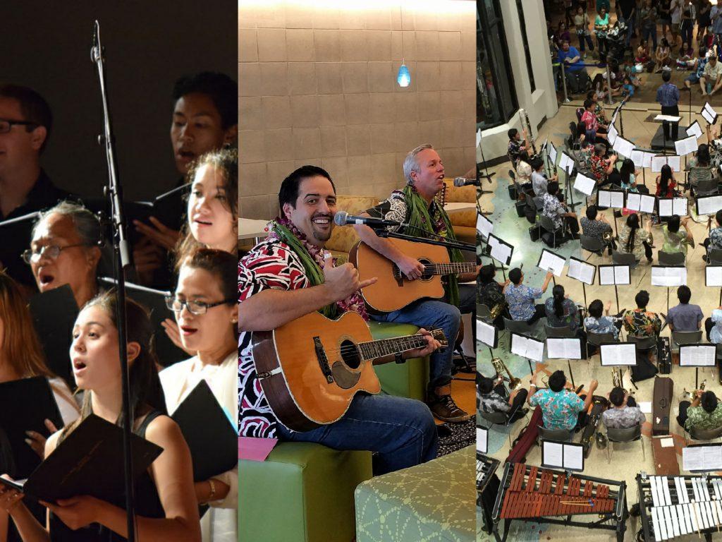Collage of University Chorus, musical jam session, and University Band