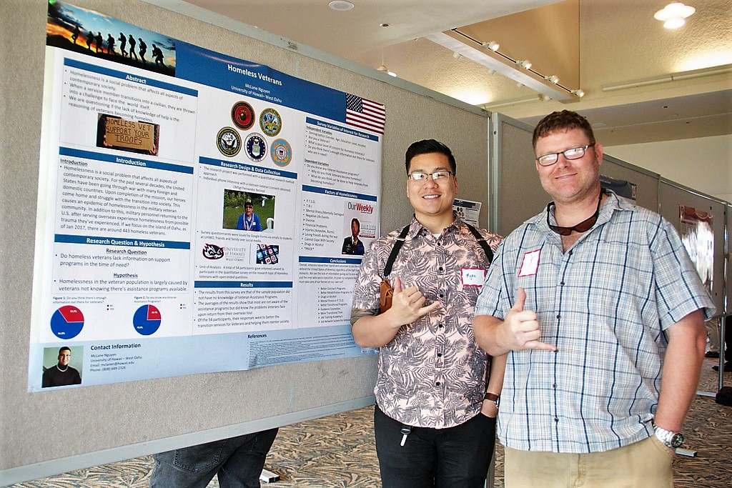 Two students and their research poster