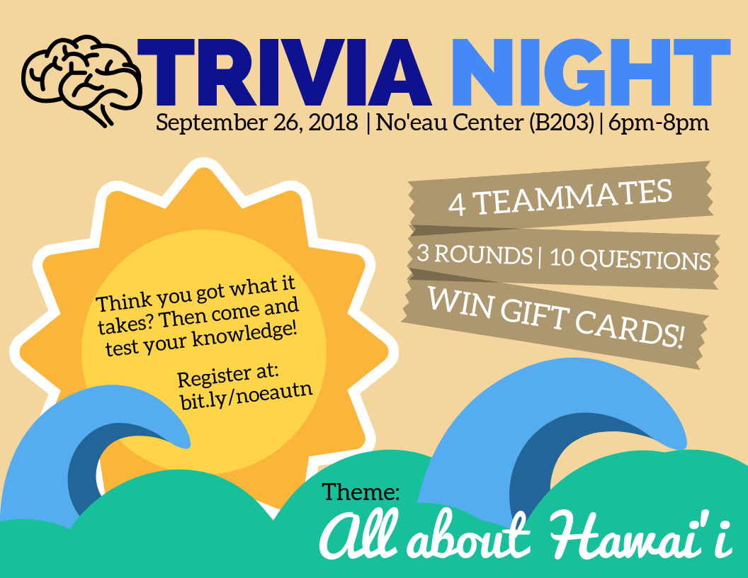 Flyer for Trivia night with information similar to what is contained in the article