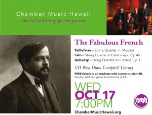 Flier for Galliard String Quintet performance on Wednesday. Contains same information as is contained in the article.