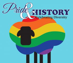 Graphic with a rainbow sheep over a blue background with the title Pride and History Celebrating Diversity